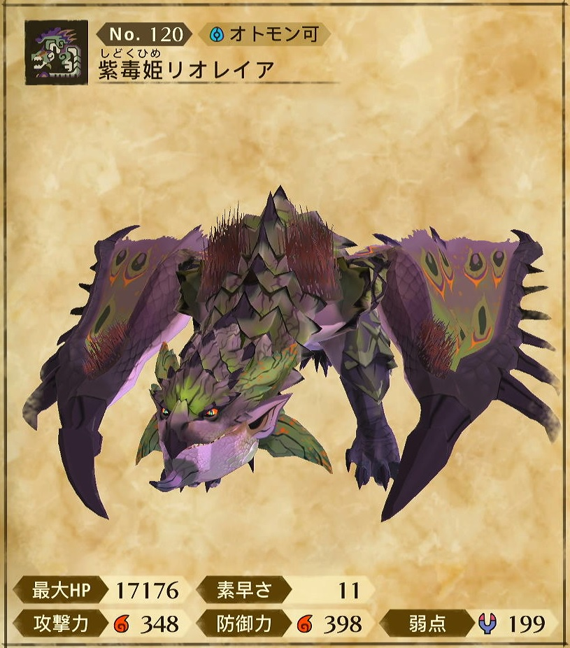 モンハンストーリズ2 紫毒姫リオレイアのステータス